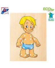 Woody 90018 Eco Wooden Educational hand motoric skills - Lacing Dress-up puzzle Baby Boy (10pcs) for kids 3y+ (18x22cm)