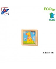 Woody 90767 Eco Wooden Educational hand motoric skills - ball puzzle - Giraffe for kids 3y+ (5.5x5.5cm)