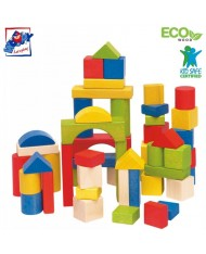 Woody 90651 Eco Wooden Educational Colored building blocks (50pcs) for kids 1y+