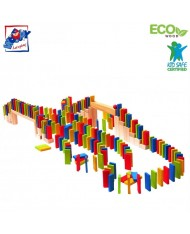Woody 90653 Eco Wooden Educational Big set of Colored Building domino Rally (200pcs) for kids 4y+ (6x2.5cm)