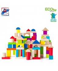 Woody 90905 Eco Wooden Educational Colored Building blocks in sorting bucket (100pcs) for kids 1y+