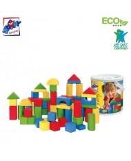 Woody 90907 Eco Wooden Educational Colored Building blocks in sorting bucket (45pcs) for kids 2y+