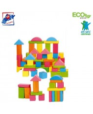 Woody 90908 Eco Wooden Educational Colored Building blocks in sorting bucket (75pcs) for kids 2y+