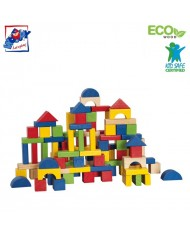 Woody 90909 Eco Wooden Educational Colored Building blocks in sorting bucket (100pcs) for kids 2y+