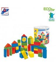 Woody 90911 Eco Wooden Educational Colored Building blocks in sorting bucket (50pcs) for kids 2y+