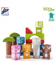 Woody 90912 Eco Wooden Educational Colored shape building blocks with print (26pcs) for kids 1y+