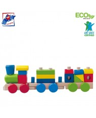 Woody 91846 Eco Wooden Educational Colored Stacking building blocks train (18pcs) for kids 2y+ (43cm)