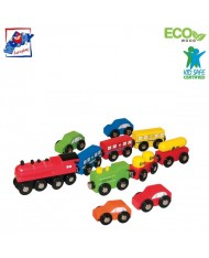 Woody 90574 Eco Wooden Educational 3 Sets Cars and rail carriage with magnets (11pcs) for kids 3y+ (30cm / 23cm / 6cm)