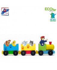 Woody 90658 Eco Wooden Educational Colored Train with animals (8pcs) for kids 2y+ (37x12cm)
