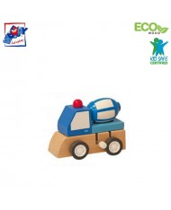Woody 90999 Eco Wooden Educational Blue Clockwork construction machine for kids 3y+ (7x5x6.5cm)