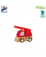 Woody 90999 Eco Wooden Educational Red Clockwork construction machine for kids 3y+ (7x5x6.5cm)