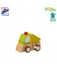 Woody 90999 Eco Wooden Educational Green Clockwork construction machine for kids 3y+ (7x5x6.5cm)