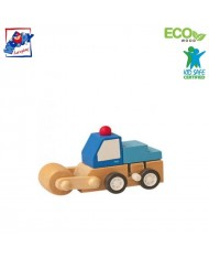 Woody 91000 Eco Wooden Educational Blue Clockwork construction machine for kids 3y+ (7x5x6.5cm)