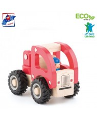 Woody 91804 Eco Wooden Educational Red Fire truck for kids 3y+ (13x9cm)