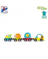 Woody 93057 Eco Wooden Educational Magnetic Train with toys and hedgehog (4pcs) for kids 3y+ (27.5cm)
