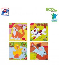 Woody 90922 Eco Wooden Educational Picture cubes puzzle (6 pictures) - Farm animals (4pcs) for kids 3y+ (12x12cm)