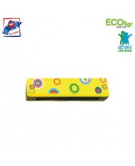 Woody 90710 Eco Wooden musical instrument - Yellow mouth organ for kids 3y+ (13cm)