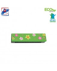 Woody 90710 Eco Wooden musical instrument - Green mouth organ for kids 3y+ (13cm)