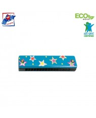 Woody 90710 Eco Wooden musical instrument - Blue mouth organ for kids 3y+ (13cm)
