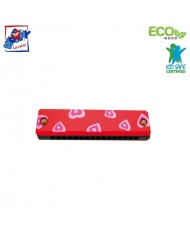 Woody 90710 Eco Wooden musical instrument - Red mouth organ for kids 3y+ (13cm)