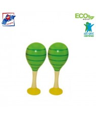 Woody 90712 Eco Wooden musical instrument - Green maracas (2pcs) for kids 3y+ (20cm)