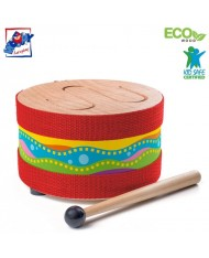 Woody 91895 Eco Wooden musical instrument - Drum with stick for kids 3y+ (17cm)