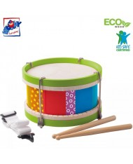 Woody 91700 Eco Wooden musical instrument - Drum with a strap belt (5pcs) for kids 2y+ (22x13cm)