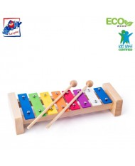 Woody 91892 Eco Wooden / Metal musical instrument - Colored xylophone for kids 3y+ (25.5cm)