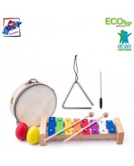 Woody 91893 Eco Wooden / Metal musical instrument set (8pcs) - Colored xylophone, tambourine, triangle, 2 maraca eggs for kids 3y+