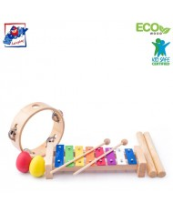 Woody 91894 Eco Wooden / Metal musical instrument set (8pcs) - Colored xylophone, tambourine, 2 sticks, 2 maraca eggs for kids 3y+