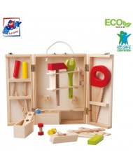 Woody 91188 Eco Wooden Educational Tools set in a Eco Wooden box (26pcs) for kids 3y+ (45x5x30cm)
