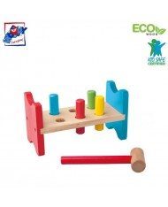 Woody 90002 Eco Wooden Educational color toy Hammer with stand and forms (8pcs) for kids 2y+ (21.5x12cm)