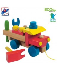 Woody 90101 Eco Wooden Educational Assembly lorry with color tool kit contruction (17pcs) for kids 3y+ (22x15cm)