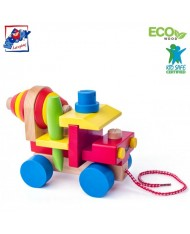 Woody 90102 Eco Wooden Educational Assembly cement mixer with color tool kit contruction (18pcs) for kids 3y+ (19x15cm)