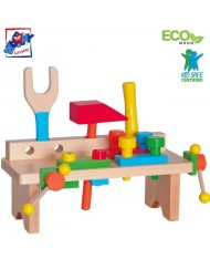 Woody 90103 Eco Wooden Educational Assembly portable workbench with color tool kit (19pcs) for kids 3y+ (28x10x11cm)
