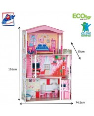 Woody 91163 Eco Wooden Educational and Fun Colorful Doll house (7pcs) for kids 3y+ (74.5x35x116cm)