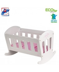 Woody 91327 Eco Wooden Trendy white doll bed-cradle with bedding for kids 3y+ (50x36.5x36cm)