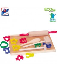Woody 90193 Eco Wooden Educational Color Kitchen accessories with plastic cookie cutters (15pcs) for kids 3y+ (38x21cm)