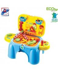 Plastica 91610 Plastic Blue Boys Tool play set- chair (33pcs) for kids 3y+ (47x26x37cm)