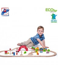 Woody 93060 Educational Railway (118cm) ZOO set with train, signs, animals (with magnetic elements) (60pcs) for kids 3y+ (118cm)