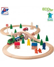 Woody 91121 Eco Wooden Eductional Figure of eight railway and car set with battery powered engine 1x AA (40pcs) for kids 3y+ (bucket height 27cm)