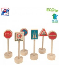 Woody 90575 Eco Wooden Educational Traffic signs for any car roads and railways (6pcs) for kids 3y+ (10cm)