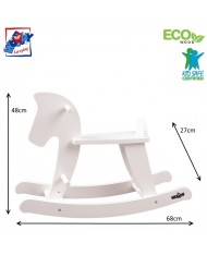 Woody 91835 Eco Wooden White painting Rocking horse for kids 2y+ (68x27x48cm)
