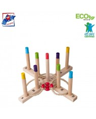 Woody 91410 Eco Wooden Educational and Fun Hoopla rings (16pcs) for kids 3y+ (49x49cm)