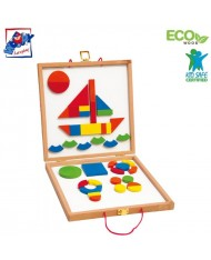 Woody 91123 Eco Wooden & Mirror Educational Board with magnetic colored shapes (42pcs) for kids 3y+ (29x29x14cm)