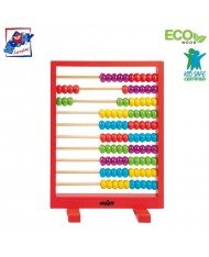 Woody 90009 Eco Wooden Educational Red abacus with colored counting beads for kids 3y+ (19x26cm)