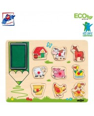 Woody 91184 Eco Wooden Educational and Fun Puzzle-Stamps - Farm animals (10pcs) for kids 3y+ (30x21cm)