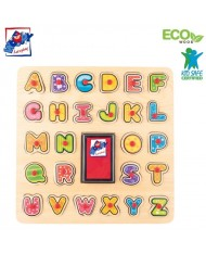 Woody 91808 Eco Wooden Educational and Fun Puzzle-Stamps - ABC puzzle (27pcs) for kids 3y+ (30x30x0.7cm)