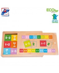 Woody 90898 Eco Wooden Educational Didactic toy - Learning maths in Eco Wooden box (81pcs) for kids 4y+ (19x12x3cm)