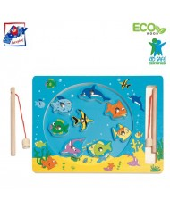 Woody 90026 Eco Wooden Educational Magnetic fishing game - Sea life (10pcs) for kids 3y+ (30x23cm)